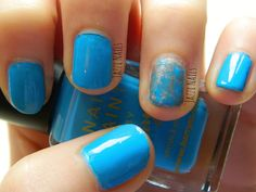 My cyan nails using the Barry M blue with cute little sponged accent is up now ;) Check it out bellow x