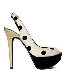 polka dot slingback white pumps and heels polka dots leather gold black Pump Shoes, Shoe Boots, Shoes Heels, Polka Dot Pumps, Polka Dots, Crazy Shoes, Me Too Shoes, Jessica Simpson Shoes, Platform Pumps