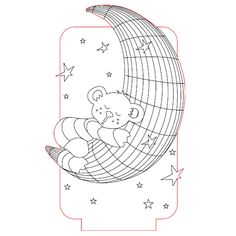 Bear on the moon 3d illusion lamp vector file for CNC - 3bee-studio