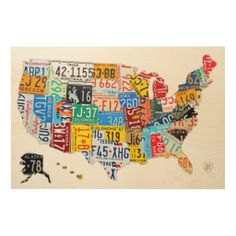License Plate Map of The USA Printed on Solid Birch Wood Sheet by Design Turnpike. Wood canvas products by WoodSnap!
