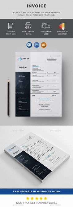 Invoice Template   Invoice Design   Receipt   MS Word Invoice     Invoice Features of Invoice Template Color Versions A4   US Letter Size  With Bleeds Quick and