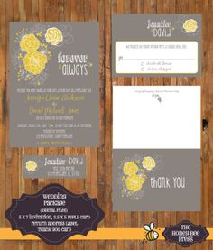 Wedding Invitation - Modern Flower Grey and Yellow Wedding Invitation Digital Package - Includes invitation, reply card, thank you and return label