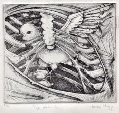 Etching about a bird caged in a thorax skeleton por GaleriaMadero, Title: Paz contenida (contained peace) Technique: Dry point White paper Size: 20 cm width 23 cm height Print size: 16 cm width 14 cm height Year: 2008