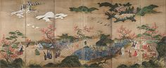 A painted screen of six panels depicting a park-like setting in which visiters enjoy the scenery.