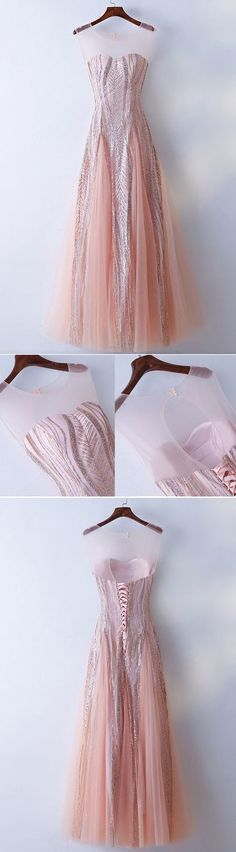 Simple Prom Dresses, Unique Illusion Neckline Sparkly Pink Prom Dress Long Tulle From petite prom dress styles to plus size prom dresses, short dress to long dresses and more,all of the 2020 prom dresses styles you could possibly want! Pageant Dresses For Teens, Prom Dresses Long Pink, Elegant Bridesmaid Dresses, Unique Prom Dresses, Dresses Short, Pretty Dresses, Dress Long, Homecoming Dresses, Popular Dresses