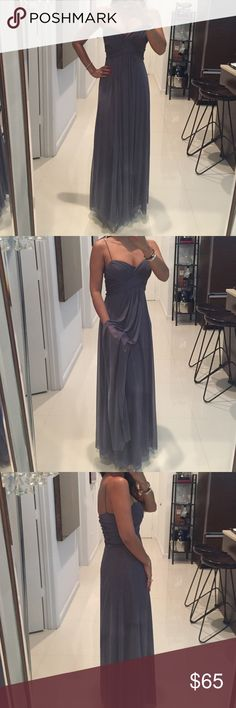 Grey Spaghetti Strap Evening Gown Size 1/2 So elegant easy and comfy dress can be worn for any occasions! Also worn strapless by tucking in straps. 😘 Dresses