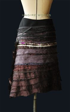 """atelier-scrumpcious:  Our creation """"Skirt of HAGIRE WORKS"""".HAGIRE means bits of fabric.We pile up small fabric and sew repeatedly."""