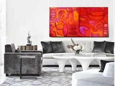 """Saatchi Art is pleased to offer the painting, """"Eve's Paradise Tea Party in the Red Orange Garden (  two parts 70/70 cm),"""" by Guzell Shakir, available for purchase at $1,750 USD. Original Painting: Acrylic, Marker on Canvas, Wood. Size is 27.6 H x 55.1 W x 0.8 in."""