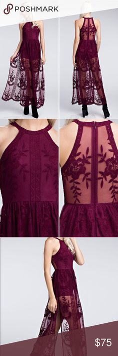 Honey Punch Sheer Halter Maxi Dress in Wine Honey Punch has taken their best selling Lace embroidered romper Maxi dress and turned it into a beautiful halter style, with a high neckline. Hand wash cold separate. Hand dry. 100% Polyester. Honey Punch Dresses Maxi