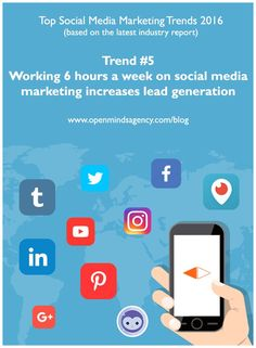 Top Social Media Marketing Trends 2016: Based on the Latest Industry Report by Social Media Examiner. Trend 5: Working 6 hours a week on Social Media Marketing increases Lead Generation For more analysis from the report, read our blog: [Click on image] #omagency #socialmedia #marketing