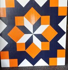 Barn Quilt by Barefootpeddler on Etsy Barn Quilt Designs, Barn Quilt Patterns, Quilting Designs, Barn Signs, Wood Signs, Orange Quilt, Painted Barn Quilts, Go Broncos, Wooden Barn