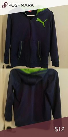 Puma zip up hoodie This is a boys medium but fits womens small. Navy and green Puma zip up hoodie in excellemt cond Puma Shirts & Tops Sweatshirts & Hoodies