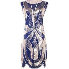 Vijiv 1920s Vintage Charleston Downton Gatsby Sequin Embellished... ($2) ❤ liked on Polyvore featuring dresses, 20s flapper dress, flapper cocktail dress, 1920s gatsby dress, vintage 20s dresses and 1920s cocktail dresses