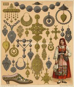 Portugal Orfevrerie Joaillerie Bijoux Chromolithographie originale XIXe Racinet