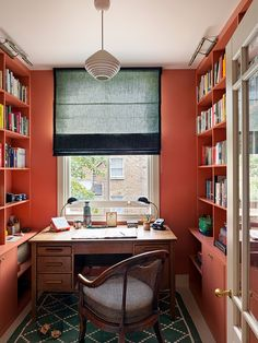 In a Notting Hill Home, Linoleum Like You've Never Seen Before Study In London, Living In London, Notting Hill, Home Office, Office Decor, Red Office, Office Inspo, Office Ideas, Beata Heuman