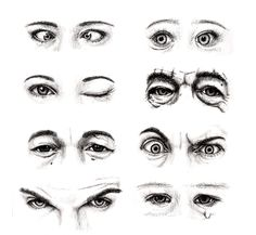 8 sets of eyes: cross-eyed female, staring baby, female winking, old man, a Crying Eye Drawing, Male Face Drawing, Realistic Eye Drawing, Eye Drawing Tutorials, Drawing Techniques, Art Tutorials, Drawing Lessons, Drawing Tips, Art Sketches