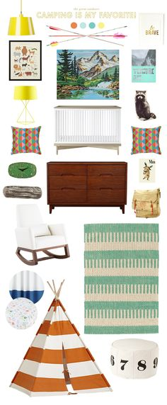 Some fun camping inspiration. Love this look for a boy or a girl – and it would be really fun for a shared room, too! I really like this bright, happy feel that captures the outdoors without being too rustic.