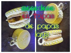 monedero amarillo en tapas de envases de papas fritas. Yellow Wallet recycled - YouTube