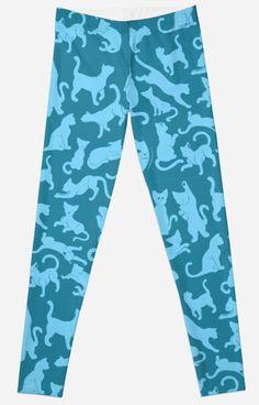 Blue Cat Pattern Leggings #pets #cats #kittens #animals #pattern