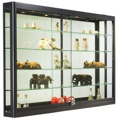 Wall Mounted Display Case W/4 Top Halogen Lights U0026 Mirror Back, Locking    Black