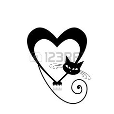 Amor Silueta del gato para su dise o Foto de archivo