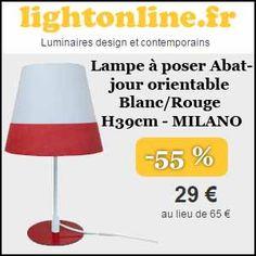 #misssbonreduction; Remise de 55% sur la Lampe à poser Abat-jour orientable Blanc/Rouge H39cm - MILANO. http://www.miss-bon-reduction.fr//details-bon-reduction-Lightonline-i852649-c1834617.html