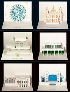 I'm pinning these even though I'll probably never make them. | Papercraft: Pop-Up Architectural Cards