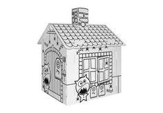 Villa Carton Geisterhaus ●  Schnell aufgebaut, kann sofort mit der Gestaltung und dem Spielen begonnen werden. ● Geeignet auch als Häuschen für Ihr Haustier in der Wohnung. Das vorgedruckte Motiv erleichtert besonders kleineren Kindern das Ausmalen. ● Aufgestelltes Format: 44 x 41 x 57 cm ● #Wellpappe, #Karton, #Kreativ, #Spielen, #joyPac®, #Dinkhauser Kartonagen