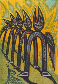 'Calling Card' by Canadian artist printmaker Gary Ratushniak (b.1957). Color linocut. via creative riverite