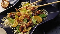 Sesame Chicken Stir-Fry with Mushrooms - Sesame oil and seed impart a delightful nutty flavor to this chicken and veggie dish.