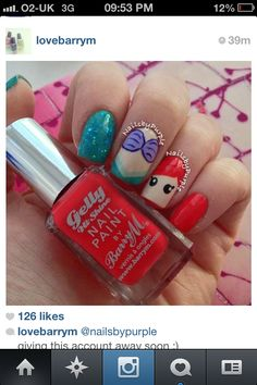 Awesome Disney Princess The Little Mermaid Ariel nails I found on Instagram!