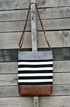 Crossbody Bag, Black and White Stripe, Genuine Leather, Everyday Purse, Adjustable Strap Popular Handbags, Cute Handbags, Cheap Handbags, Luxury Handbags, Purses And Handbags, Ladies Handbags, Luxury Purses, Canvas Handbags, Beautiful Handbags