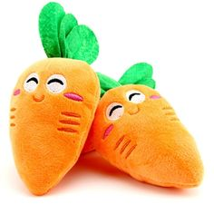 Taloyer 2pcs Vegetable Carrots Dog Toy Cat Plush Squeaky Toy Fluffy Sound Chew Squeaker Toys *** Visit the image link more details. (This is an affiliate link and I receive a commission for the sales)