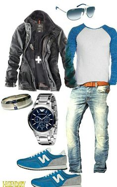 Mens casual blue outfit