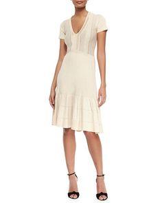 V-Neck Knit Flounce Dress, Parchment by Burberry London at Neiman Marcus.