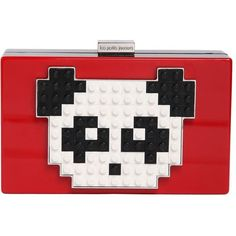 LES PETITS JOUEURS Grace Panda Lego On Perspex Clutch ($710) ❤ liked on Polyvore featuring bags, handbags, clutches, red, chain strap purse, chain handle handbags, lucite purse, panda purse and white purse