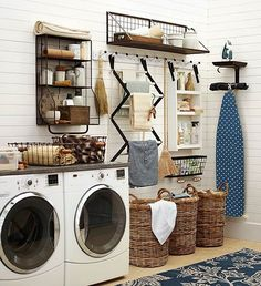 Like the idea for the hanging ironing board + iron