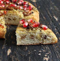 Quinoa Olive Focaccia Crust Pizza with Israeli Za'atar, Caramelized Onions and Pomegranate. vegan recipe