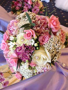 Vintage rose & rice flower bridal bouquet
