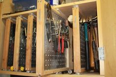 slide out pegboard tool storage - Google Search