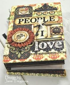 Jane Tregenza :People I love album .great idea for mini album Scrapbook Cover, Mini Scrapbook Albums, Scrapbook Paper Crafts, Scrapbook Cards, Friend Scrapbook, Journal Covers, Book Journal, Art Journals, Mini Albums