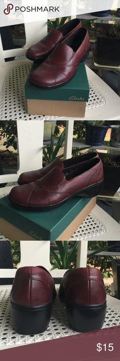Clarks Wine Blackberry Loafers Comfy Clarks loafers in color called wine/blackberry. Size 7.5. As you can tell, hardly any wear. Leather upper. Slight Wedge. No issues! Will send in box! Clarks Shoes Flats & Loafers