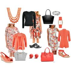 three way with Coral by megschneider on Polyvore featuring Studio 1, Tiana B, Ronni Nicole, ONLY, Karen Scott, Alfani, Miss Selfridge, Coach, Kenneth Cole and Apt. 9