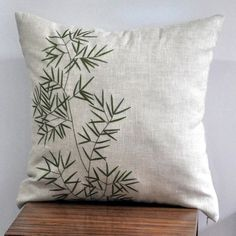"BambooThrow  Pillow Cover - 18"" x 18"" Decorative pillow cover - Linen Pillow Cover with Green Bamboo Embroidery. $23.00, via Etsy."