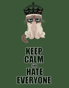 """Grumpy Cat, KEEP CALM AND HATE EVERYONE!!!!!! No, it's """"KEEP CALM AND LOVE ONE DIRECTION!!!!!"""""""