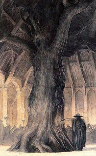 In the hall of Volsung, Odin thrusting a sword into Branstock Alan Lee, illustration, 1984 Alan Lee, Norse Pagan, Norse Mythology, Viking Art, Viking Warrior, Richard Wagner, John Howe, Germanic Tribes, Viking Culture