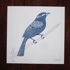 Serigrafia - Pássaro III - www.gabrielagil.com  por R$25,00