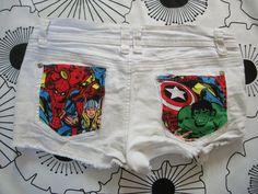 The Avengers Comic Thor Spiderman Iron Man Hulk Captain America Wolverine White Destroyed Jean Denim Cut Off Shorts. $37.00, via Etsy.