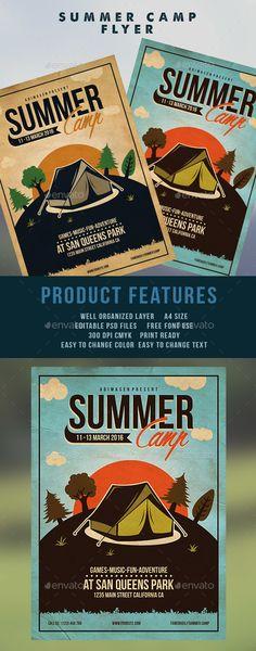 Summer Community Camp Flyer EVENT POSTER Digital by DitDitDigital - summer camp flyer template