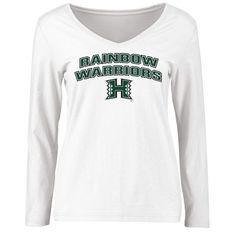Hawaii Warriors Women's Proud Mascot Slim Fit Long Sleeve T-Shirt - White - $27.99